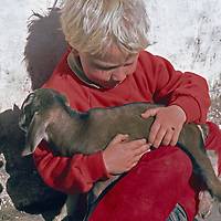 Kathmandu, Nepal.An American youngster holds a baby goat.