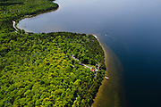 Aerial View of the Eagle Point Lighthouse, Peninsula State Park, Door County, Wisconsin, between the towns of Fish Creek and Ephraim.