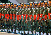 Indian army soldiers in military parade at Rashtrapati Bhavan, Presidential House, in New Delhi, India