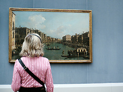 Woman looking at painting at Gemaldegalerie at Kulturforum at Berlin Germany