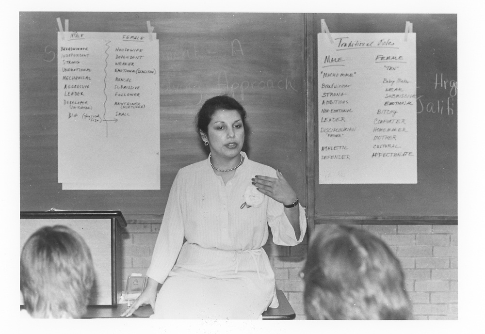 ©1990 teacher at mother-daughter sexuality workshop, Austin, TX.   No release