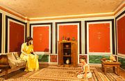 Reconstruction of family life Roman villa interior Ipswich museum, Suffolk, England UK