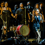 VIENNA, VA - July 21st, 2017 - PJ Harvey (right) performs with Anacostia's Union Temple Baptist Church Choir at the Filene Center at Wolf Trap in Vienna, VA. A trip to Washington, D.C. in 2016 inspired much of Harvey's latest album, The Hope Six Demolition Project. (Photo by Kyle Gustafson / For The Washington Post)