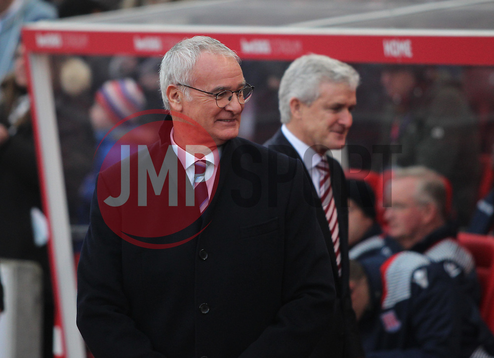 Leicester City manager Claudio Ranieri (L) and Stoke City manager Mark Hughes - Mandatory by-line: Jack Phillips/JMP - 17/12/2016 - FOOTBALL - Bet365 Stadium - Stoke-on-Trent, England - Stoke City v Leicester City - Premier League