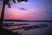 Sunset, boat docks, Lake Wallenpapack, Pocono Mountains, PA