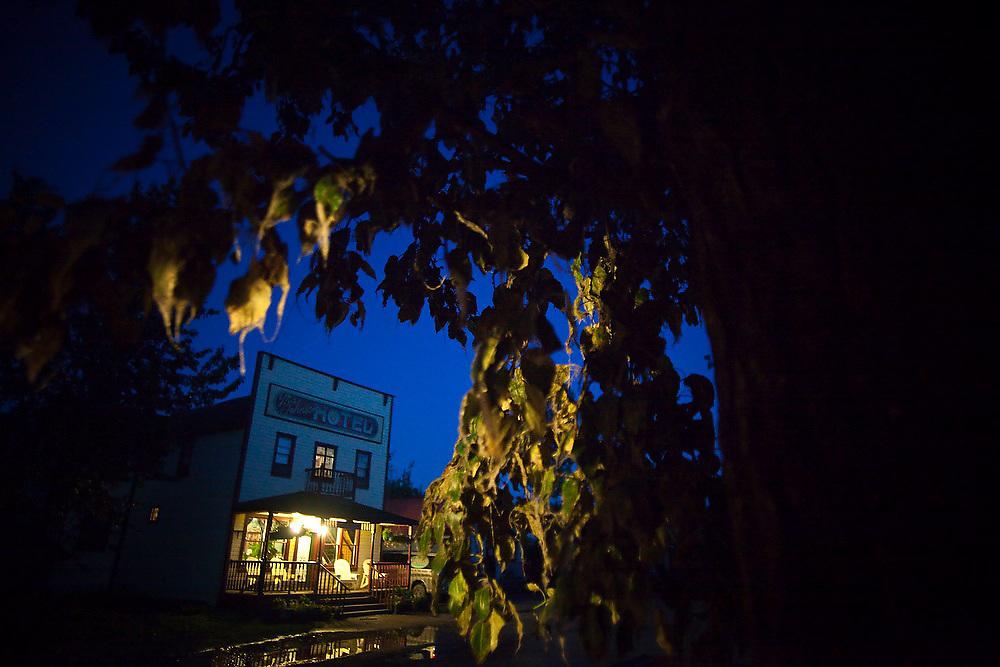 The historic (and still operating) Ma Johnson's Hotel at twilight in McCarthy, Alaska.