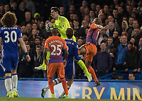Football - 2016 / 2017 Premier League - Chelsea vs. Manchester City<br /> <br /> Thibaut Courtois of Chelsea cries out in pain after being caught by Vincent Kompany of Manchester City  <br /> at Stamford Bridge.<br /> <br /> COLORSPORT/DANIEL BEARHAM