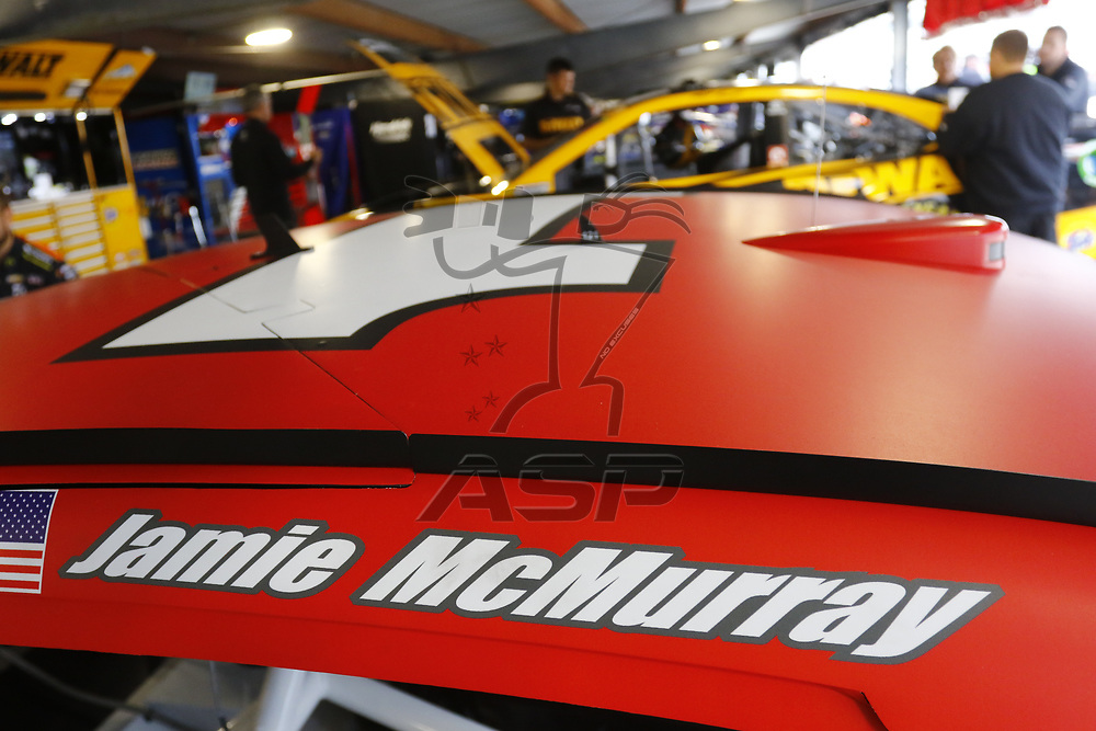 October 28, 2017 - Martinsville, Virginia, USA: The car of Jamie McMurray (1) sits in the garage before practice for the First Data 500 at Martinsville Speedway in Martinsville, Virginia.