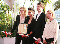Claire Burger, Marie Amachoukeli, Samuel Theis and Nicole Garcia winner of Caméra d'or for the film Party Girl at the Palme d'Or winners photo call at the 67th Cannes Film Festival, Saturday 24th May 2014, Cannes, France.