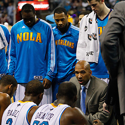 January 19, 2011; New Orleans, LA, USA; New Orleans Hornets head coach Monty Williams talks to his players during a timeout in the fourth quarter of a game against the Memphis Grizzlies at the New Orleans Arena. The Hornets defeated the Grizzlies 130-102 in overtime.  Mandatory Credit: Derick E. Hingle