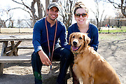 Brandon Mendosa and Rebecca Lauten with their Golden Retriever, Brinkley, at the White Rock Lake Dog Park on Sunday, February 3, 2013 in Dallas, Texas. (Cooper Neill/The Dallas Morning News)