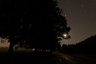 Salisbury Mills, New York  - The moon and stars shine over Otterkill Road on the night of Sept. 29, 2013.