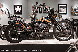 Richie Pan's Viola custom 1950 Harley-Davidson Panhead chopper in Michael Lichter's Skin & Bones tattoo inspired Motorcycles as Art Exhibition at the Buffalo Chip Gallery during the annual Sturgis Black Hills Motorcycle Rally. SD, USA. August 10, 2016. Photography ©2016 Michael Lichter.