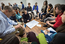 1 December 2019, Madrid, Spain: Group discussion, as representatives of various faiths gather in the Iglesia de Jesús (Church of Christ) of the Iglesia Evangélica Española (Evangelical Church of Spain) for an interfaith dialogue and prayer service on the eve of the United Nations climate conference (COP25) in Madrid, Spain.