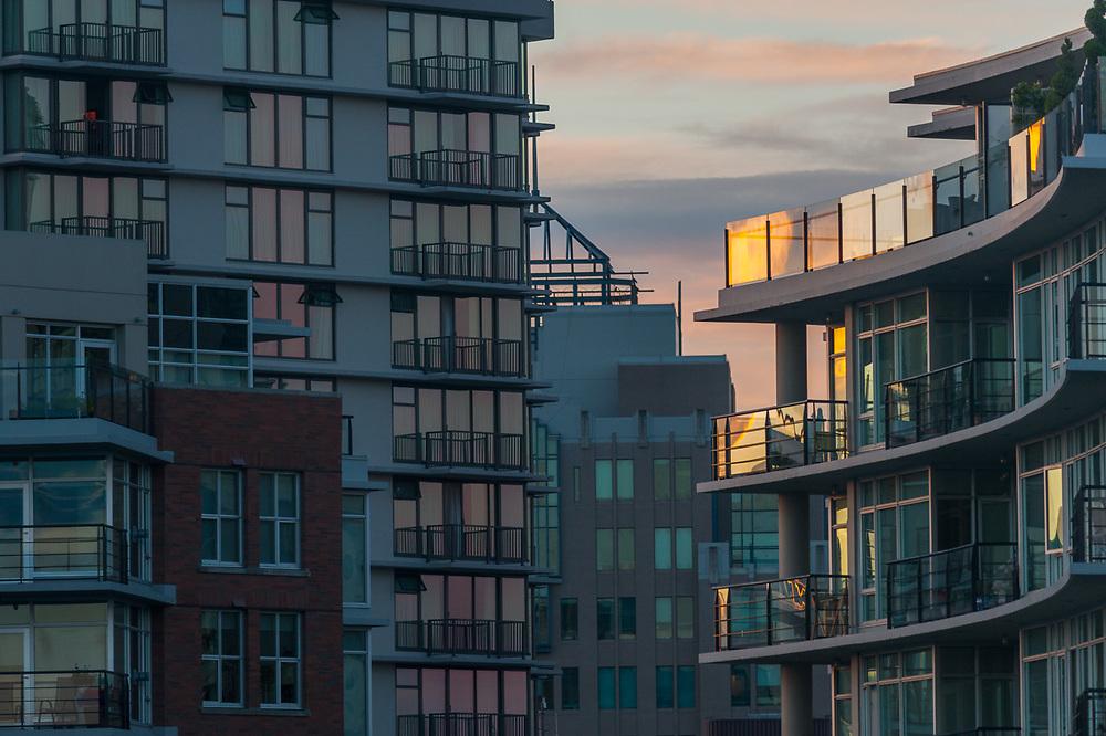 Condominium, evening light, July, Victoria, British Columbia, Canada