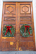 Christmas wreath on the doors of historic St Michael's in Charleston, South Carolina.