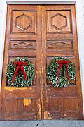 Christmas wreath on the doors of historic St Michael's in Charleston, South Carolina.