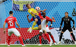 SAINT PETERSBURG, July 3, 2018  Viktor Claesson (top) of Sweden competes during the 2018 FIFA World Cup round of 16 match between Switzerland and Sweden in Saint Petersburg, Russia, July 3, 2018. (Credit Image: © Yang Lei/Xinhua via ZUMA Wire)