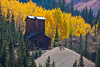 An old mine near the historic  mining sites found along the Million Dollar Highway on Red Mountain Pass.  San Juan Mountains, Colorado.
