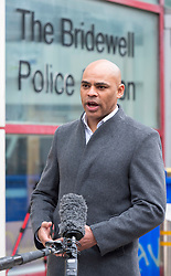 """© Licensed to London News Pictures;22/03/2021; Bristol, UK. Elected Mayor of Bristol MARVIN REES talks to the media outside Bridewell Police Station the morning after a """"Kill the Bill"""" protest against the Police, Crime, Sentencing and Courts Bill when a police car and a police van wer set on fire as police clashed with protesters. The Police, Crime, Sentencing and Courts Bill proposes new restrictions on protests. Photo credit: Simon Chapman/LNP."""