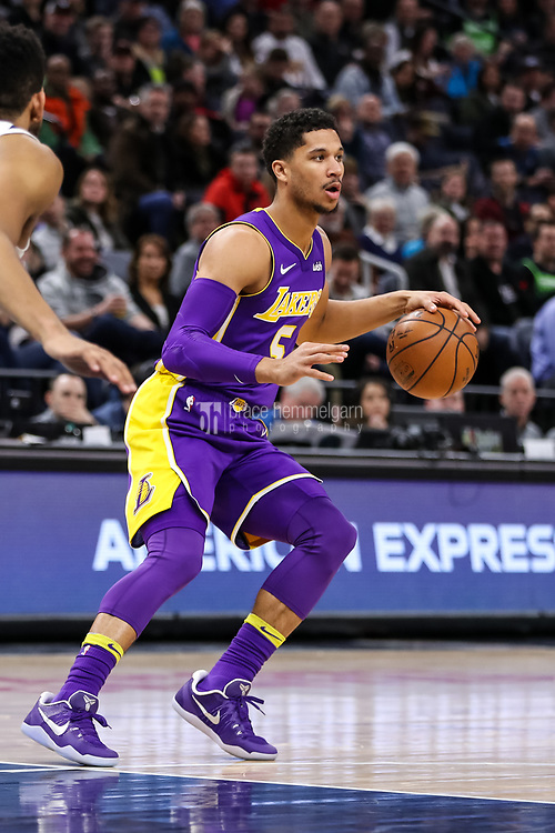 Feb 15, 2018; Minneapolis, MN, USA; Los Angeles Lakers guard Josh Hart (5) during a game between the Minnesota Timberwolves and Los Angeles Lakers at Target Center. Mandatory Credit: Brace Hemmelgarn-USA TODAY Sports