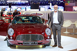 GENEVA, SWITZERLAND - Tuesday, March 7, 2017: Founder David Brown of David Brown Automotive with the Speedback GT at the 87th Geneva International Motor Show at the Palexpo. (Pic by David Rawcliffe/Propaganda)