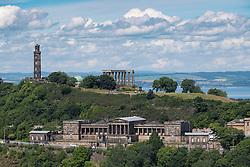 View of historic Calton Hill in Edinburgh Scotland , United Kingdom
