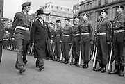 The Annual Commemorative Easter Army Parade. President Eamon de Valera, accompanied by Captain Daniel O'Connell, inspecting the Guard of Honour at the G.P.O. prior to the commencement of the parade..18.04.1965