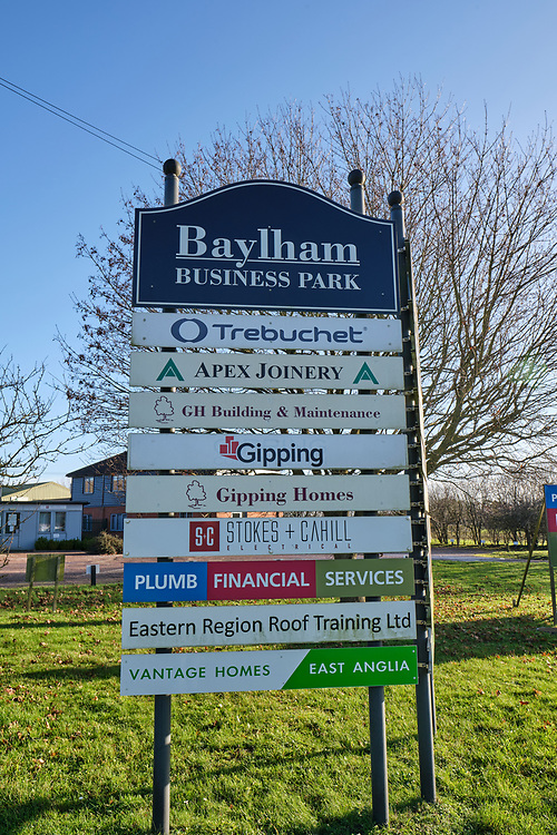 Sign outside Baylham Business Park listing all business's at the site.<br /> Photo by Jonathan J Fussell, COPYRIGHT 2020