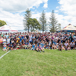 BRISBANE, AUSTRALIA - MARCH 18: Wynnum Manly and Tweed Heads players, along with NRL Development and clinic attendees pose for a photo during the NRL Development Junior Clinic and QRL training session at Ron Stark Oval on March 18, 2017 in Brisbane, Australia. (Photo by Patrick Kearney/Wynnum Manly Seagulls)