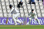 Wicket - Harry Brook of Yorkshire is bowled by Fidel Edwards of Hampshire during the Specsavers County Champ Div 1 match between Hampshire County Cricket Club and Yorkshire County Cricket Club at the Ageas Bowl, Southampton, United Kingdom on 11 April 2019.