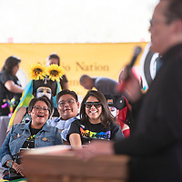 Navajo Nation Council delegates Eugenia Charles-Newton, left, and Charlaine Tso attend the third annual DinéPride Saturday, June 29 at Veteran's Memorial Park in Window Rock.
