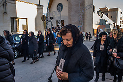 April 14, 2017 - Bisceglie, Italy/Bari, Italy - The Saint Friday in Bisceglie, a rite of Holy Week eagerly awaited with deep faith and great reverence from Bisceglie community. A religious event of high spiritual value. Starts at 09.30 c.a. in Piazza Vittorio Emanuele, Calvary area. And the time of the last meeting between Jesus and his Mother before the crucifixion. The statue of Jesus, bearing the cross on his shoulders, ready Redeemer atrocious torture, he made his last journey by crossing the loving gaze and sad Mary, Our Lady of Sorrows, represented with a dagger stuck in his chest to witness the pain for the fate of his son . The statue of the Madonna is heading towards the meeting with his son at about 07.00 from the cathedral while that of Christ with the cross walks from 09:00 from the Church of San Lorenzo. Topical appointment highlight of Holy Week Bisceglie is the kiss to his mother's son. Tradition has it that the two statues, after the meeting, to continue their journey, always separated, visiting also, like many of the faithful, so-called tombs in some city churches. (Credit Image: © Davide Pischettola/Pacific Press via ZUMA Wire)