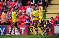 CELE - Burnley's Andre Gray celebrates scoring his sides third goal <br /> <br /> Photographer Kevin Barnes/CameraSport<br /> <br /> Football - Sky Bet Football League Championship - Charlton Athletic v Burnley - Saturday 7th May 2016 - The Valley - London<br /> <br /> © CameraSport - 43 Linden Ave. Countesthorpe. Leicester. England. LE8 5PG - Tel: +44 (0) 116 277 4147 - admin@camerasport.com - www.camerasport.com