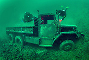 LungFish and Chest Mounted rebreather divers on theArmy truck wreck at Dutch Springs in Bethlehem, Pennsylvania