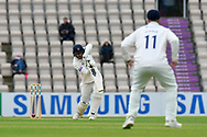James Vince of Hampshire gets off the mark with a boundary for 4 runs during the first day of the Specsavers County Champ Div 1 match between Hampshire County Cricket Club and Essex County Cricket Club at the Ageas Bowl, Southampton, United Kingdom on 5 April 2019.