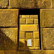 14th century Inca Rainbow Temple within the 17th century Dominican basilica in Cuzco, Peru.