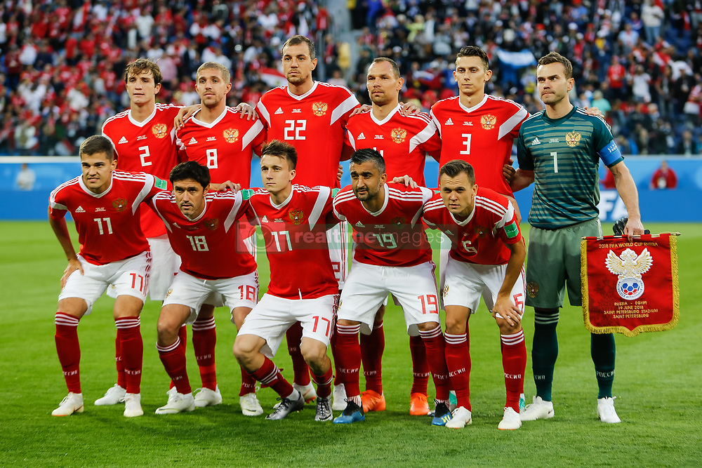 June 19, 2018 - Saint Petersburg, Russia - Russia national team players pose for a photo during the 2018 FIFA World Cup Russia group A match between Russia and Egypt on June 19, 2018 at Saint Petersburg Stadium in Saint Petersburg, Russia. (Credit Image: © Mike Kireev/NurPhoto via ZUMA Press)