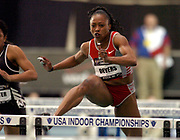 Gail Devers wins the women's 60-meter hurdles in 7.81 seconds in the USA Track & Field Indoor Championships at Reggie Lewis Track & Athletic Center at Roxbury Community College on Saturday, Feb. 28, 2004 in Roxbury Crossing, Mass. Devers also won the 60 meters in 7.12 seconds to become the first American to win the 60 and 60 hurdles in the same year.