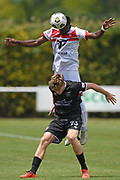 Waitakere United's Shuiab Khan goes above Hawke's Bay United's Jorge Akers for a high ball in the Handa Premiership football match, Hawke's Bay United v Waitakere United, Bluewater Stadium, Napier, Sunday, December 20, 2020. Copyright photo: Kerry Marshall / www.photosport.nz
