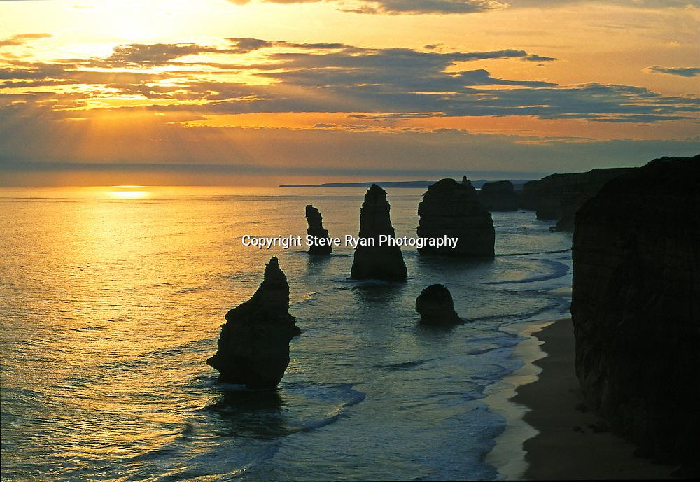 "12 Apostles Sunset ""Copper Tones""<br /> Shot on Velvia film many years ago"