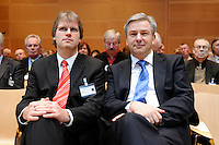 """17 JAN 2008, BERLIN/GERMANY:<br /> Jens Bullerjahn (L), SPD, Finanzminister Sachsen-Anhalt, und Klaus Wowereit (R), SPD, Reg. Buergermeister Berlin, Veranstaltung des Forum OstDeutschland unter dem Motto """"Ostdeutsche Potentiale werden sichtbar"""", Willy-Brandt-Haus<br /> IMAGE: 20080117-01-066"""