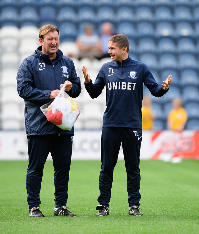 Preston North End's first team coach Steve Thompson, left, and Preston North End's fitness coach Tom Little during the pre-match warm-up<br /> <br /> Photographer Chris Vaughan/CameraSport<br /> <br /> The EFL Sky Bet Championship - Preston North End v Reading - Saturday 15th September 2018 - Deepdale - Preston<br /> <br /> World Copyright © 2018 CameraSport. All rights reserved. 43 Linden Ave. Countesthorpe. Leicester. England. LE8 5PG - Tel: +44 (0) 116 277 4147 - admin@camerasport.com - www.camerasport.com