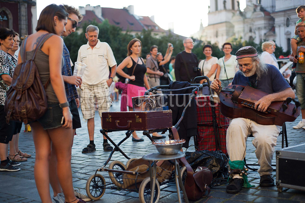 Busker in Old town Square; Prague, Czech Republic.