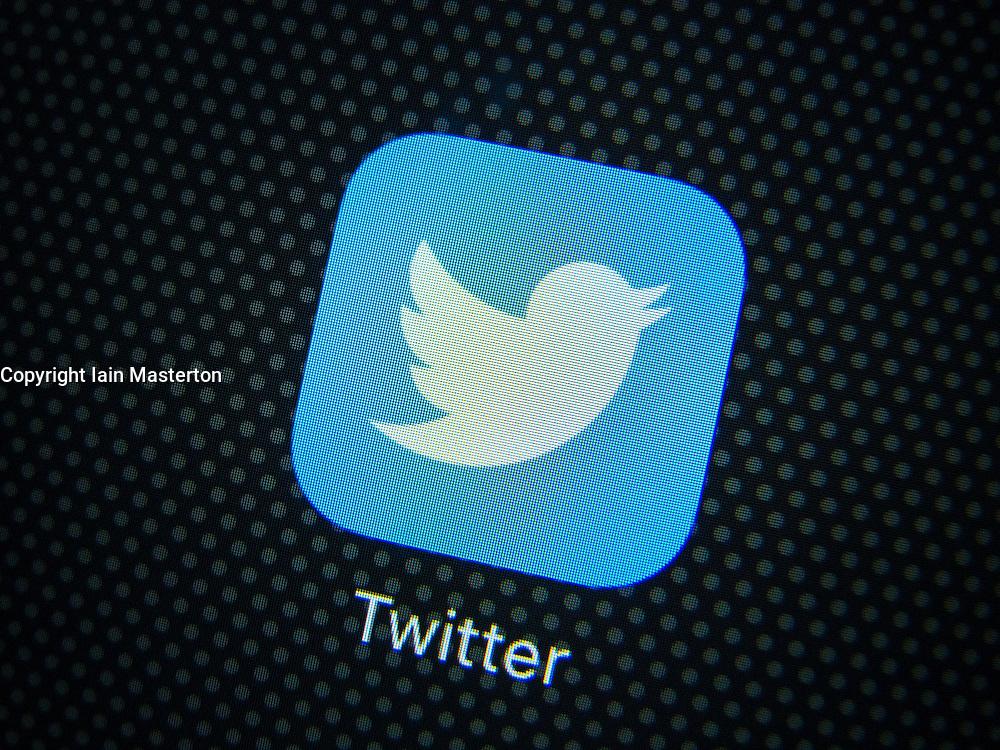 Twitter social media logo on screen of iPhone 6 plus smart phone
