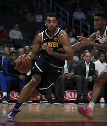 October 9, 2018 - Anaheim, California, U.S - Trey Lyles #7 of the Denver Nuggets with the ball during their NBA preseason game with the Los Angeles Clippers on Tuesday October 9, 2018 at the Staples Center in Los Angeles, California. Clippers defeat Nuggets, 109-103. (Credit Image: © Prensa Internacional via ZUMA Wire)