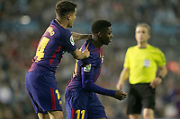 FC Barcelona's Ousmane Dembele (r) and Philippe Coutinho celebrate goal during La Liga match. April 17,2018. (ALTERPHOTOS/Acero)