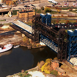 """Aerial view of the Conrail or """"Iron Curtain Bridge, this bridge spans the mouth of the Cuyahoga River, outside Cleveland Ohio."""
