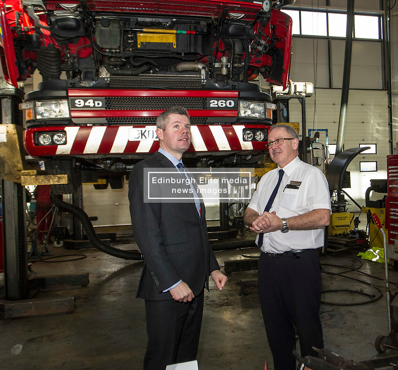 Pictured: Derek Mackay met workshop manager Brian McGleave during his visit<br /> <br /> Today Finance Secretary Derek Mackay visit the Scottish Fire and Rescue Services' East HQ in Edinburgh ahead of a meeting with other finance ministers  on VAT costs. During his tour of the facilities, the Finance Secretary spoke to firefighters and staff prior to hosting the Finance Ministers Quadrilateral where he will raise the issue of the GBP35 million annual VAT cost faced by Scottish police and fire services in contrast to other territorial police and fire services in the UK.<br /> <br /> Ger Harley   EEm 14 February 2017