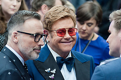 May 20, 2019 - London, England, United Kingdom - Elton John (C) and David Furnish (L) arrive for the UK film premiere of 'Rocketman' at Odeon Luxe, Leicester Square on 20 May, 2019 in London, England. (Credit Image: © Wiktor Szymanowicz/NurPhoto via ZUMA Press)